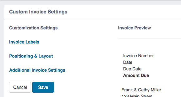 Custom Invoice Settings