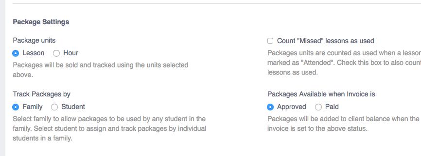 package settings