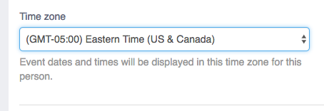 Time Zone on User Profile