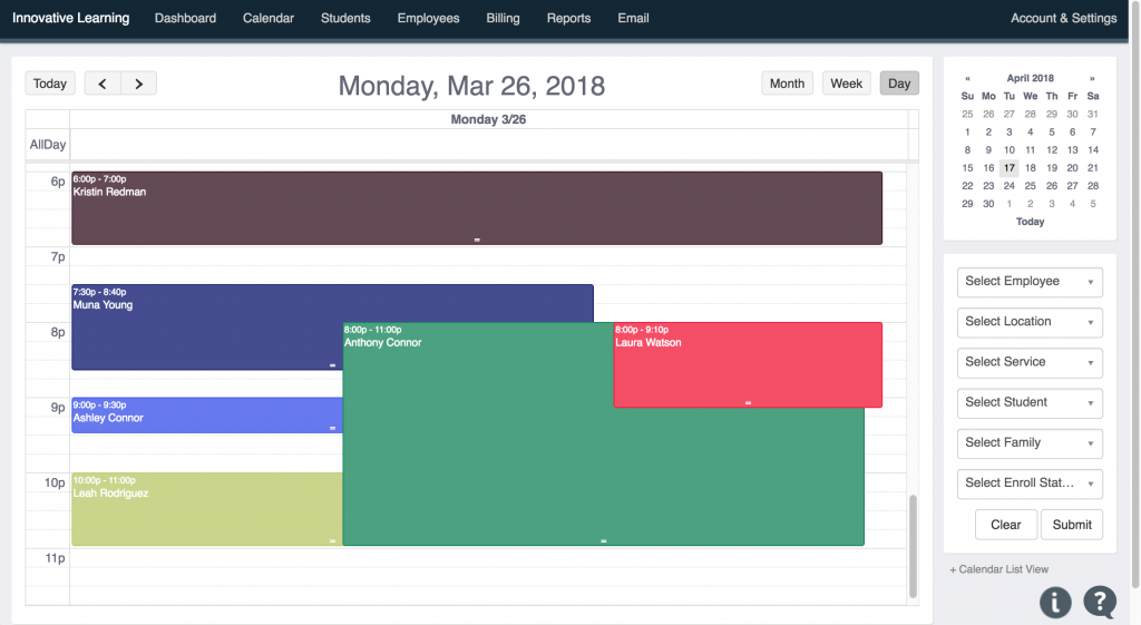 Day Tutoring Calendar View