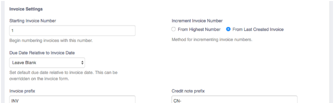 Invoice Settings