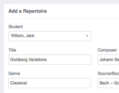 Music Teacher Management Software - Repertoire Tracker.