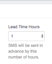 SMS Reminder Lead Time