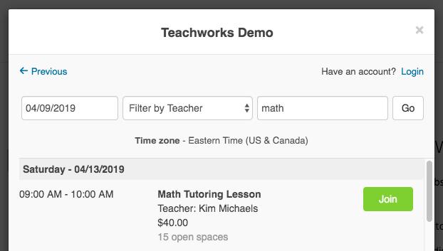 Teachworks Demo: Join Open Classes