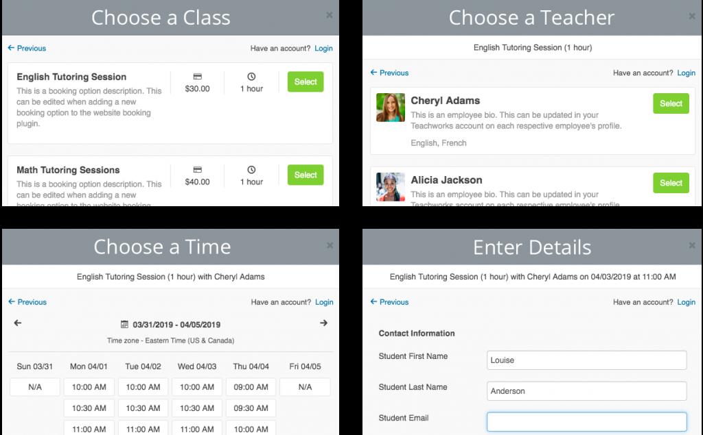 Teachworks Demo: Website Booking Plugin