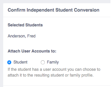 Independent student conversion