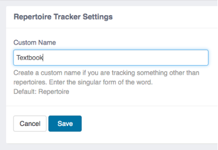 Repertoire Tracker Custom Name