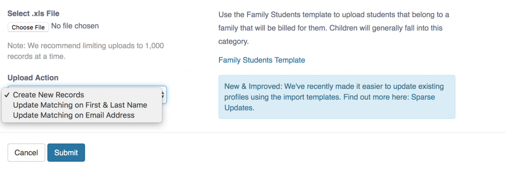 7 Ways Teacher Management Software Increases Productivity: Import Template Screen