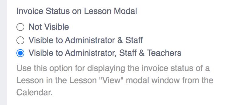 Invoice Status on Lesson Modal Screenshot