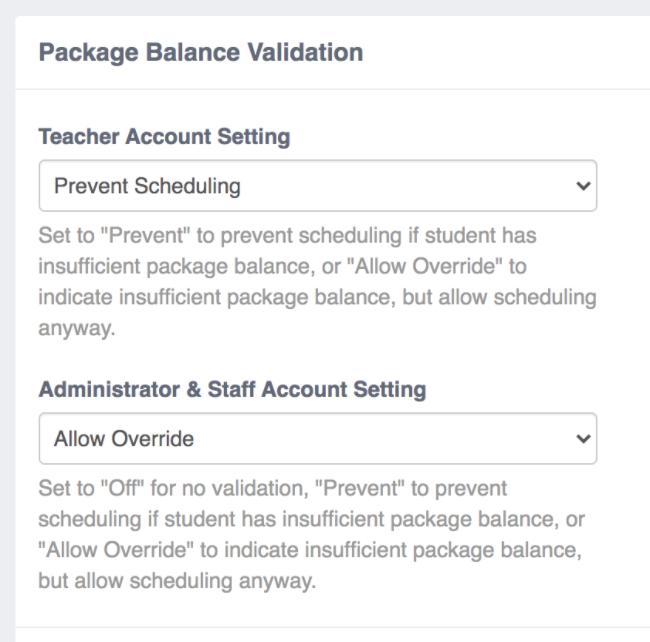 Package Balance Validation Add-On Settings Screenshot