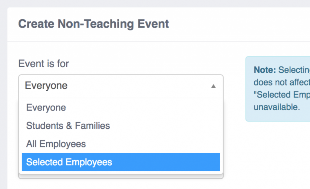 Create Non-Teaching Event - Selected Employees option.
